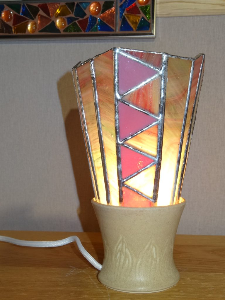 lampe Tiffany pied porcelaine