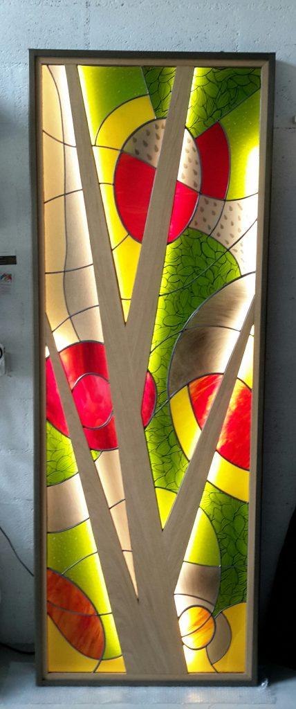 Panneau vitrail montage plomb